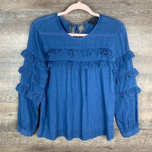 J. Crew Chambray Ruffled Long Sleeved Blouse 2